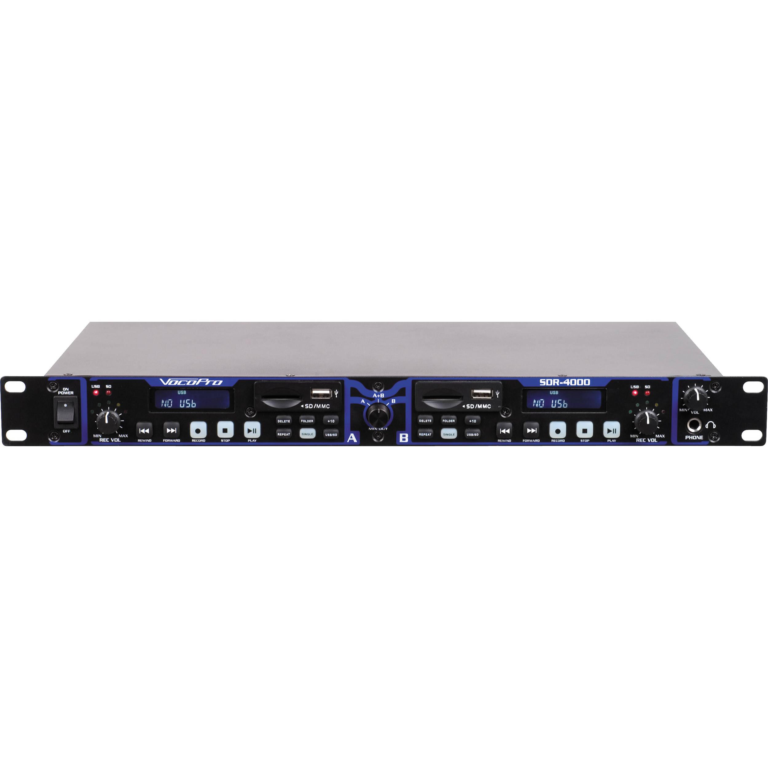 Vocopro Sdr 4000 Dual Digital Usb Sd Audio Recorder Sdr 4000