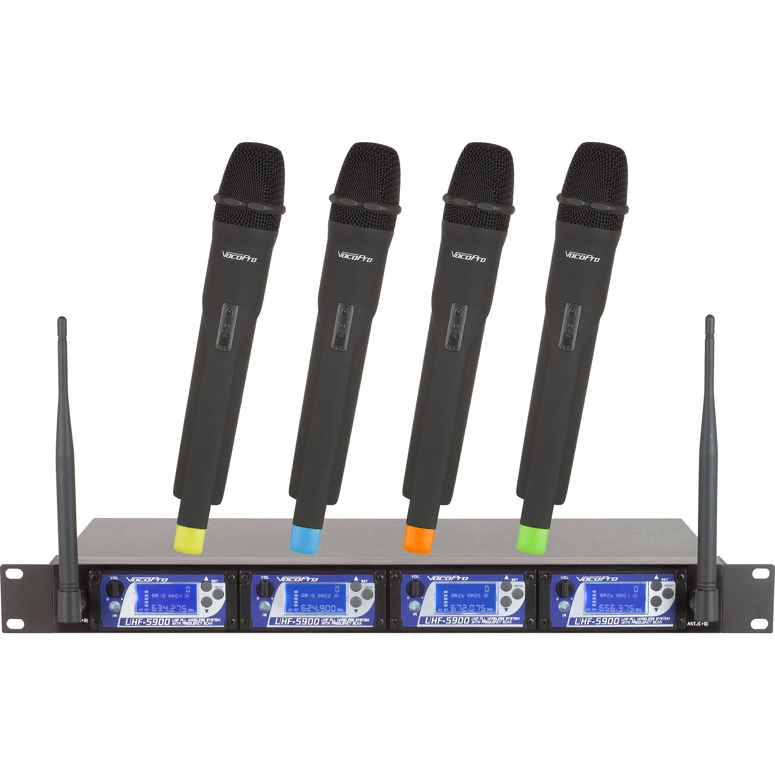 VocoPro UHF 5900 9 4 Channel PLL Wireless Mic System With Frequency Scan 900 MHz