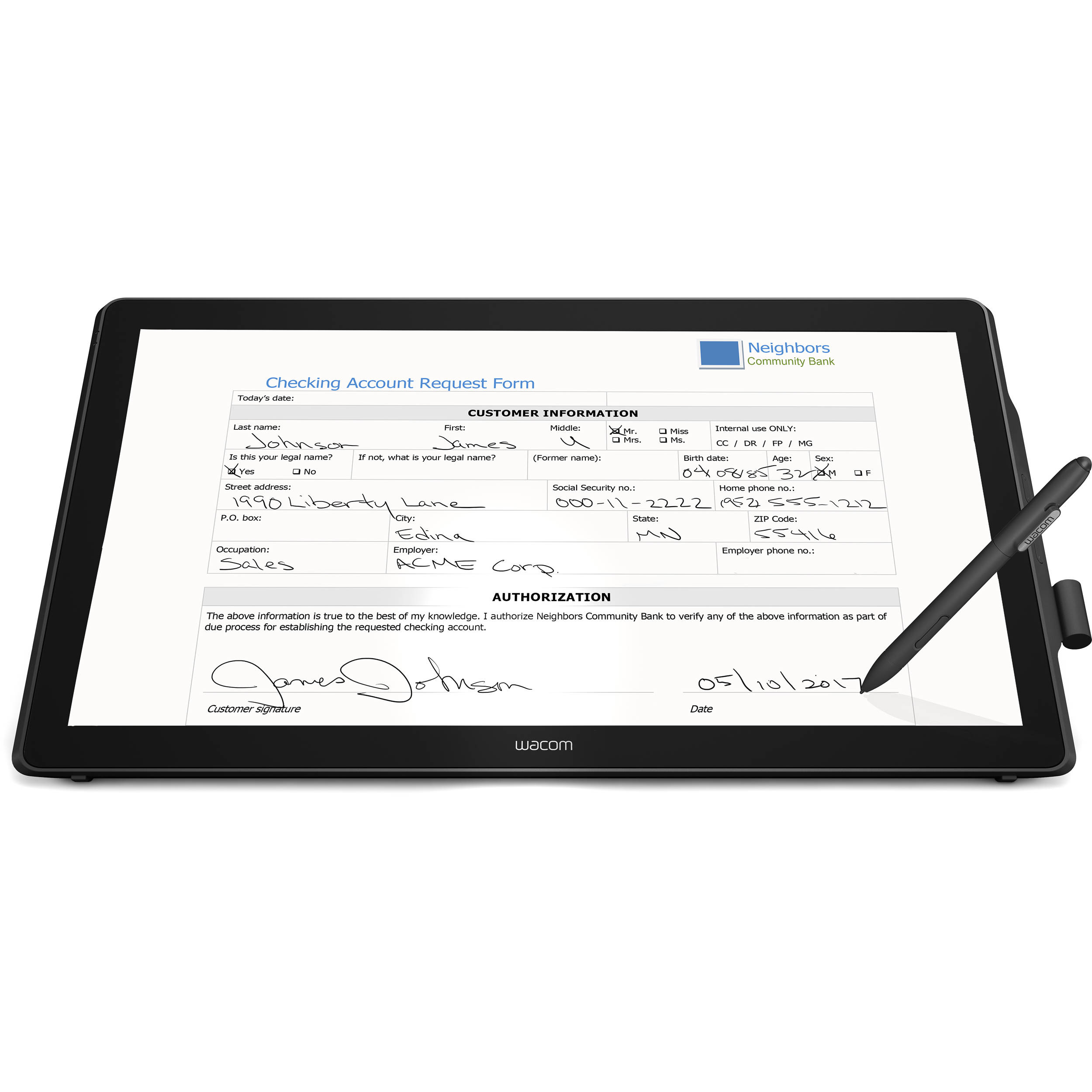 "Wacom DTH-2452 23.8"" Full-HD Pen Display with Multi-Touch Functionality"