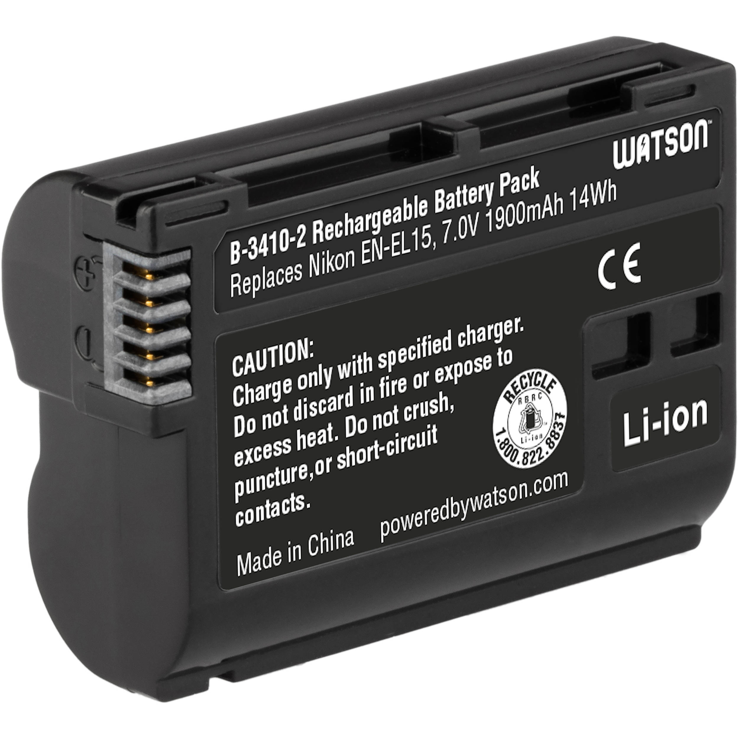 Watson En El15 Lithium Ion Battery Pack B 3410 2 Bh Simple And Utility Charger Circuit Powersupply 70v 1900mah