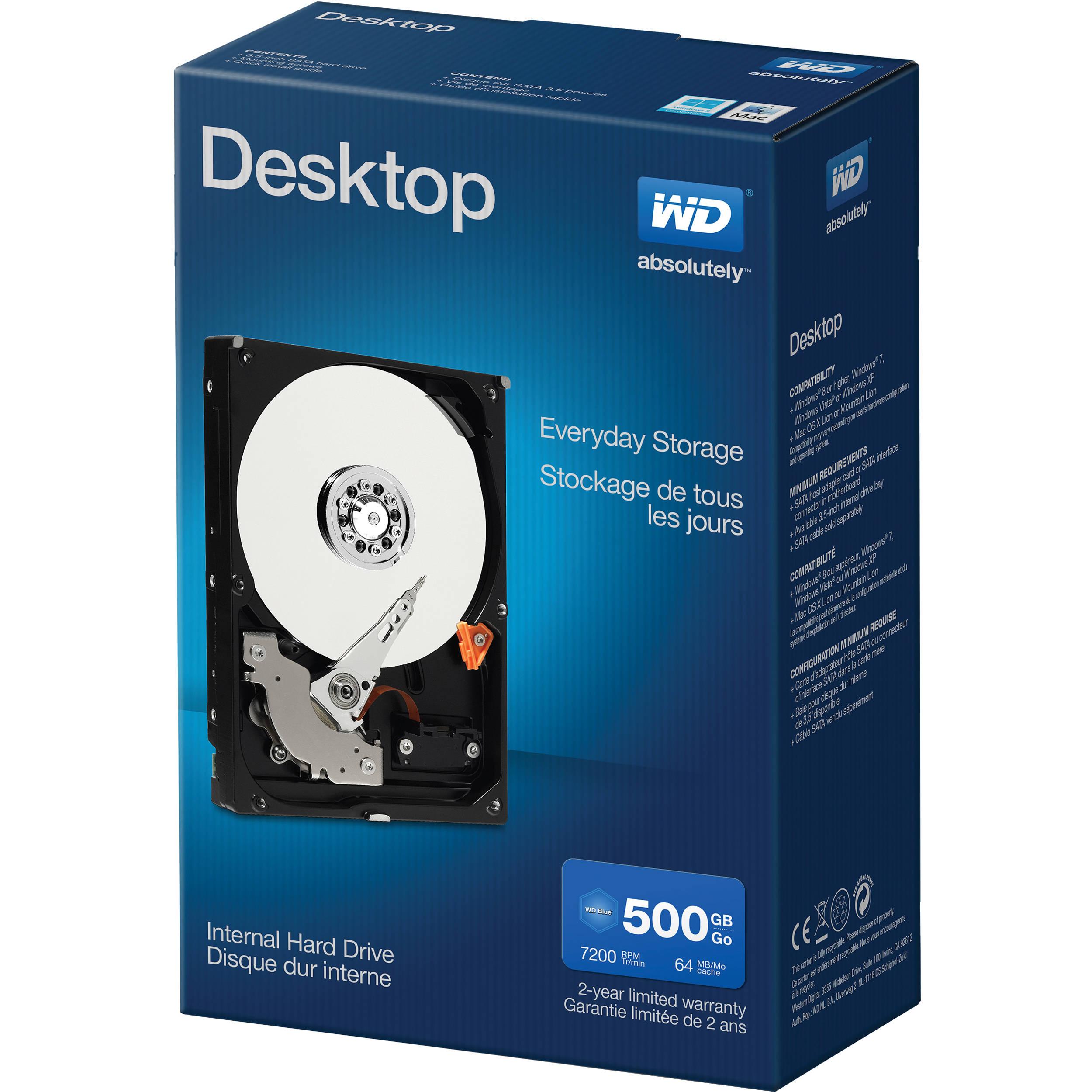 wd 500gb desktop mainstream hdd retail kit wdbh2d5000enc nrsn. Black Bedroom Furniture Sets. Home Design Ideas