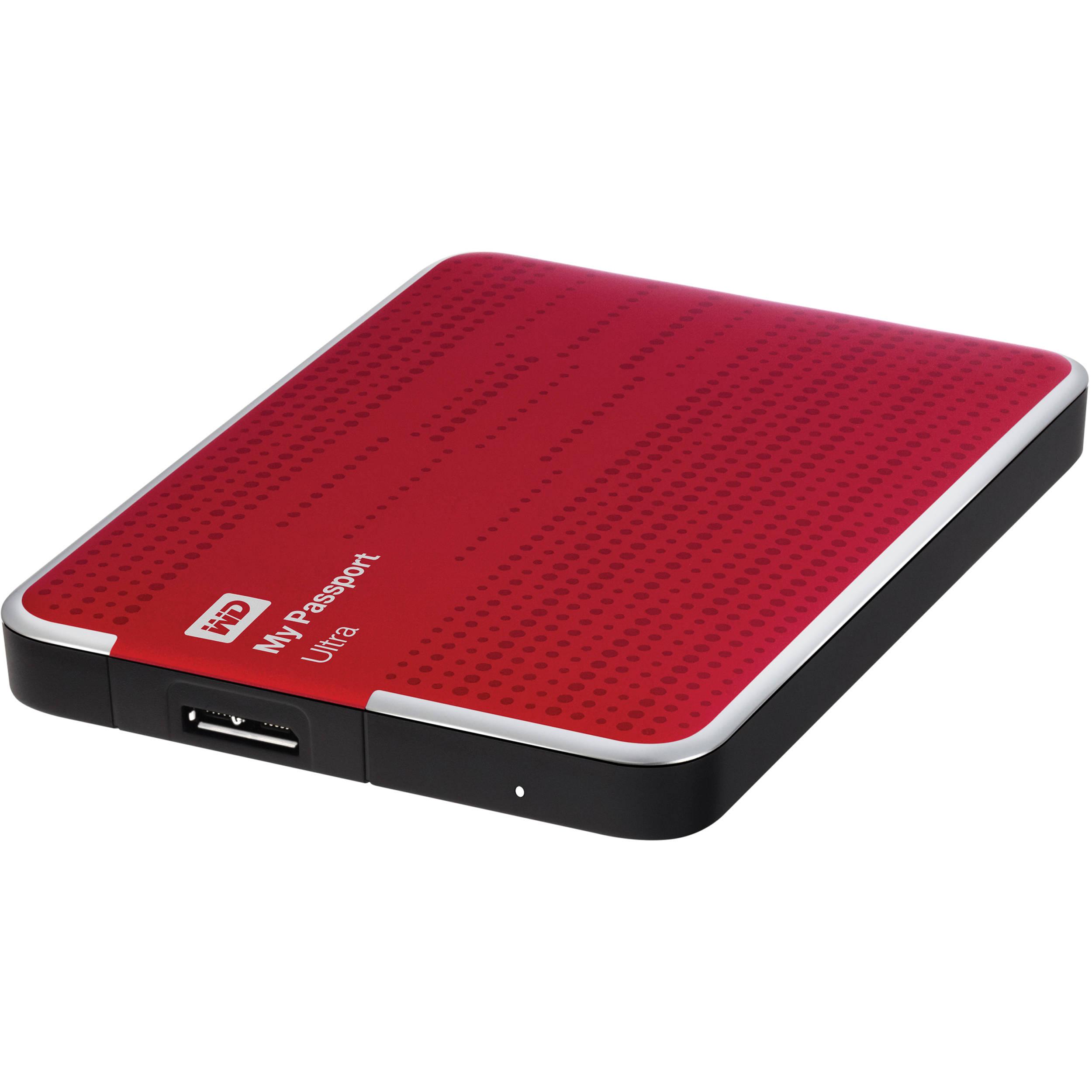 WD 500GB My Passport Ultra Portable Hard Drive (Red)