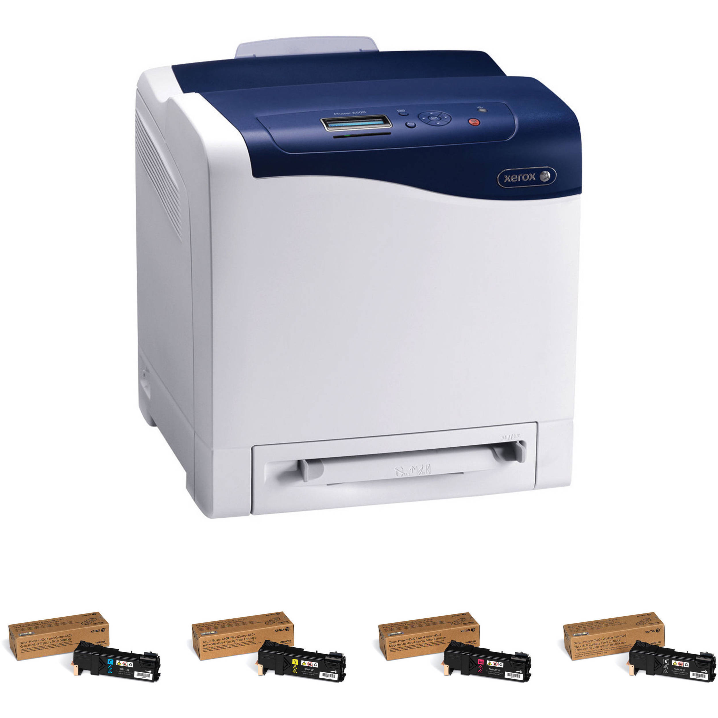 xerox phaser 6500 n network color laser printer with extra set