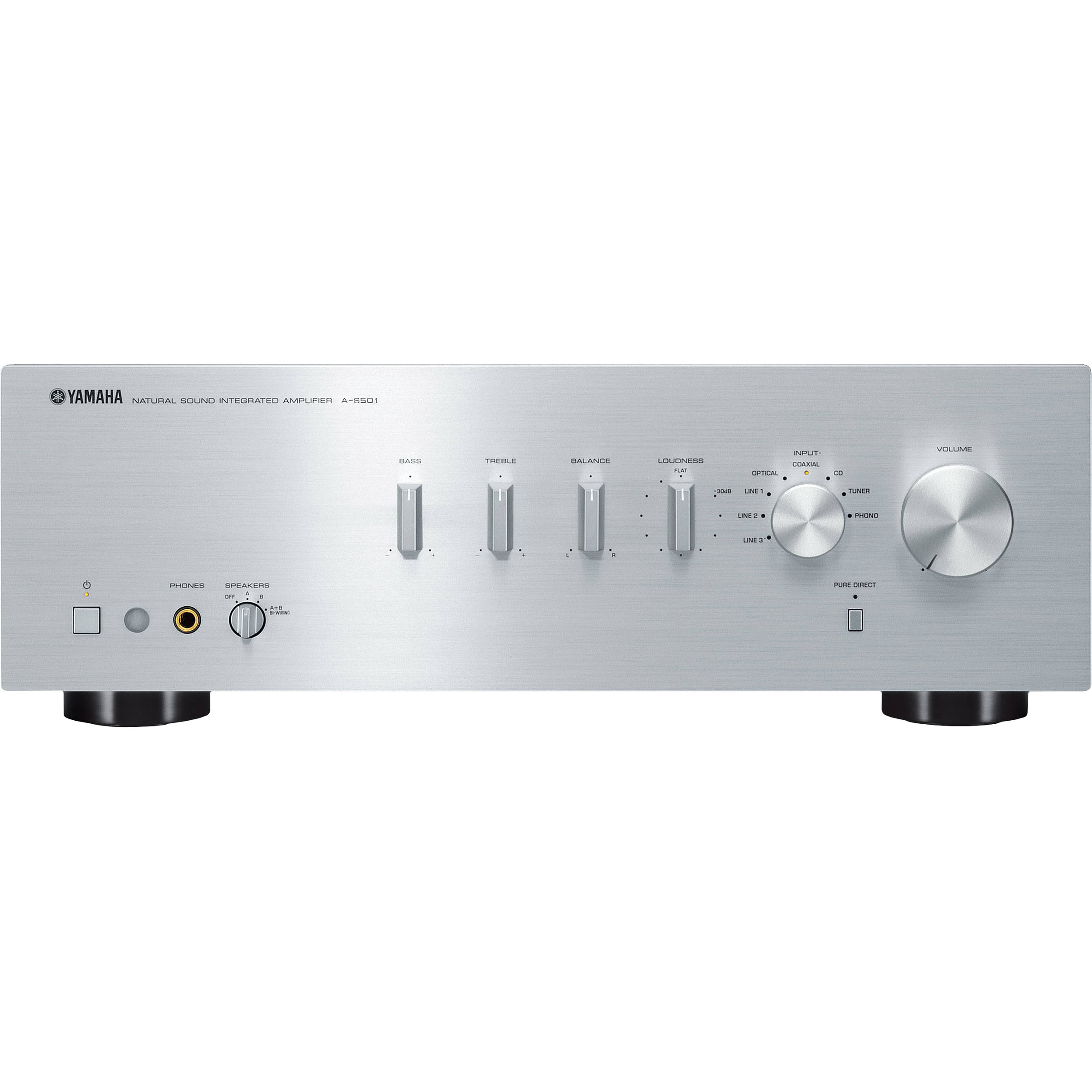 yamaha a s501 integrated amplifier silver a s501sl b h photo. Black Bedroom Furniture Sets. Home Design Ideas