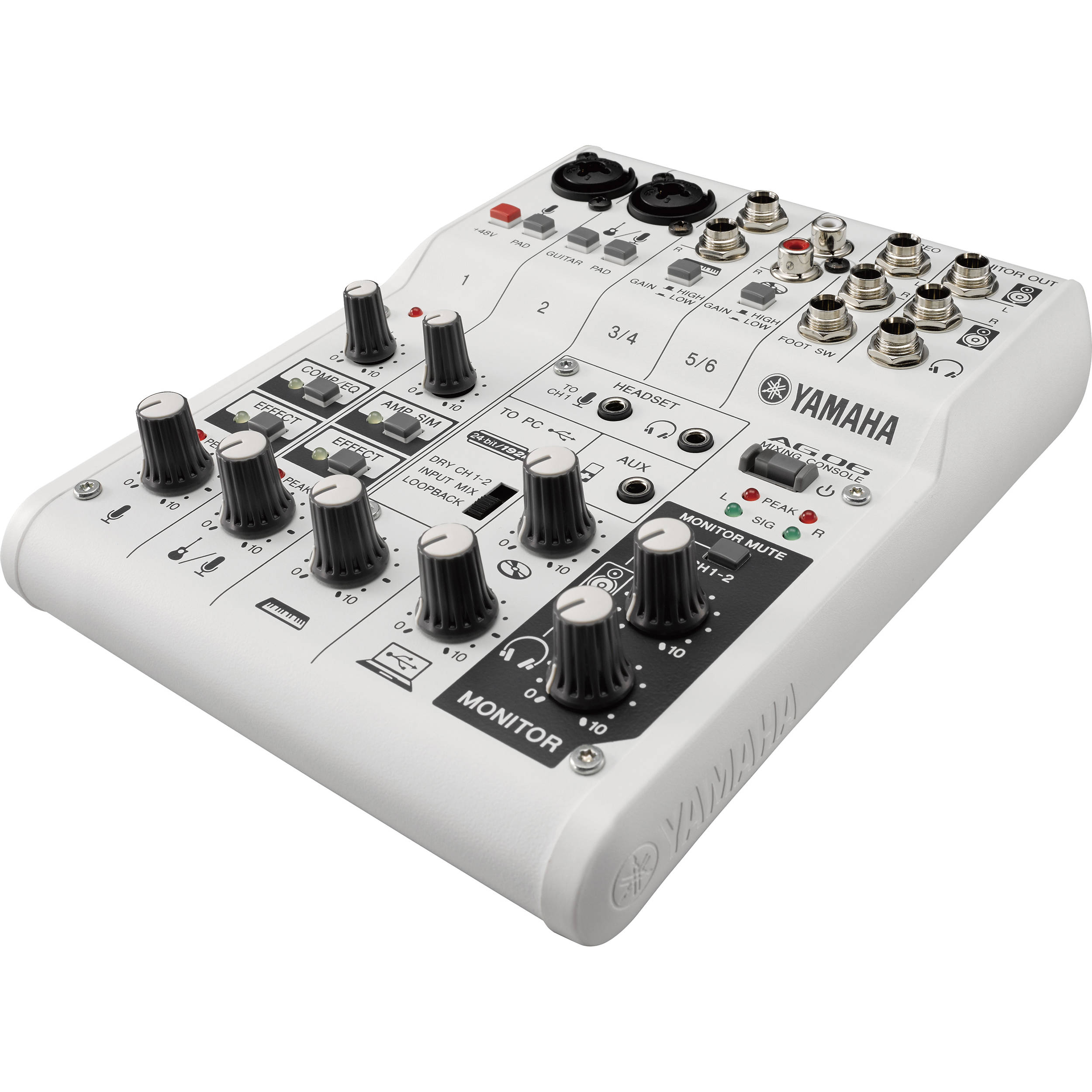 yamaha ag06 6 channel mixer usb audio interface ag06 b h