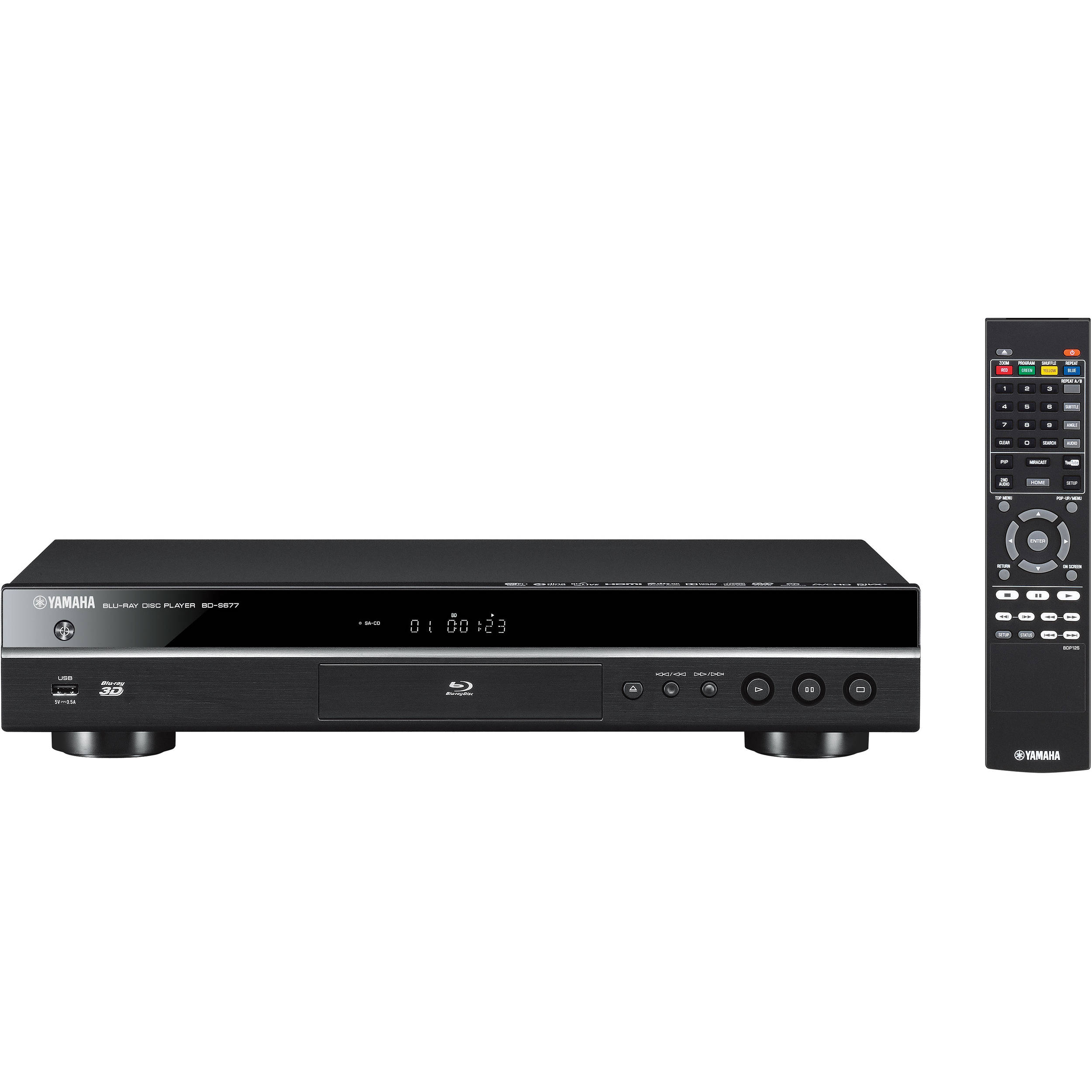 yamaha bd s677 wi fi and 3d blu ray disc player bd s677bl b h