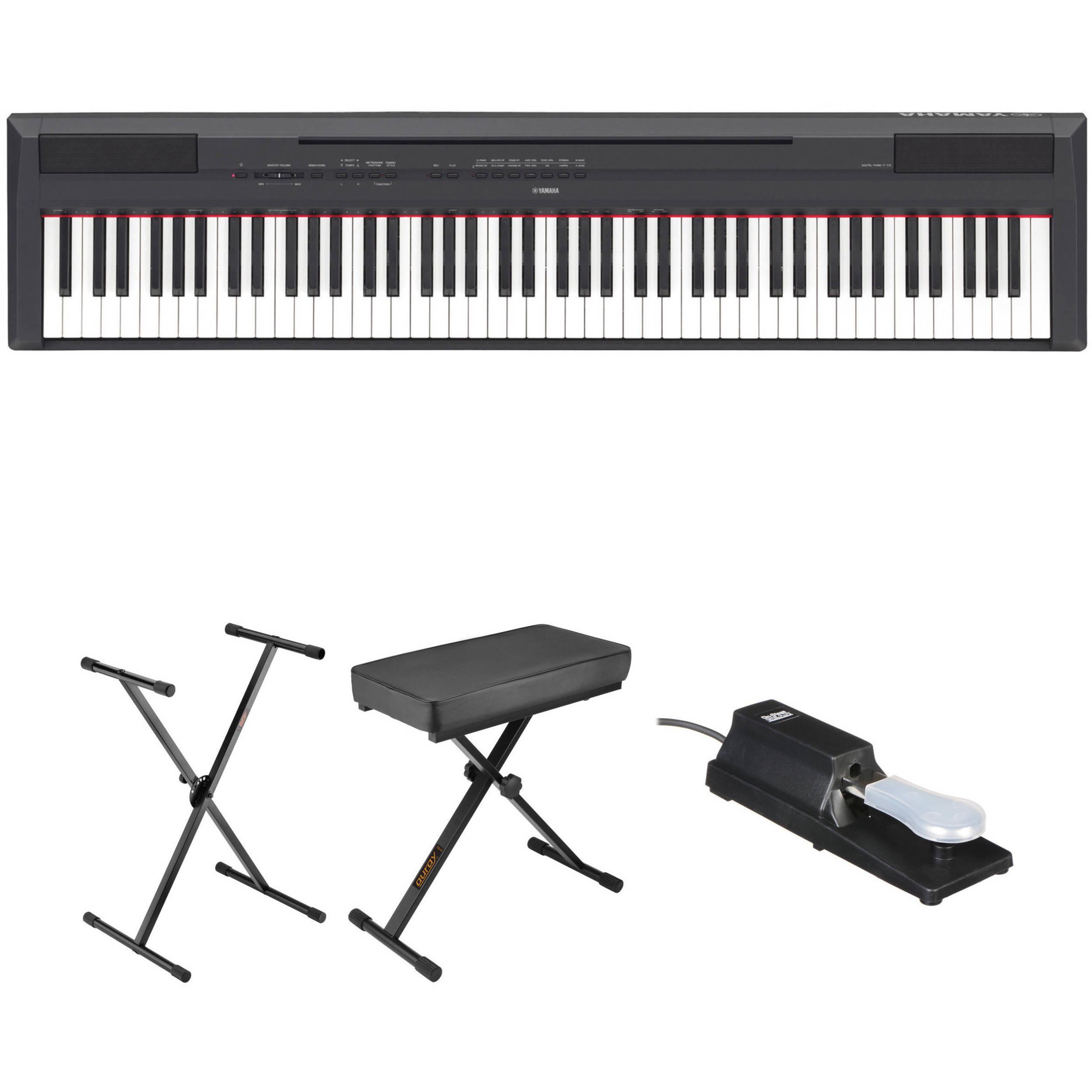 yamaha p 115 digital piano essentials bundle black b h photo. Black Bedroom Furniture Sets. Home Design Ideas