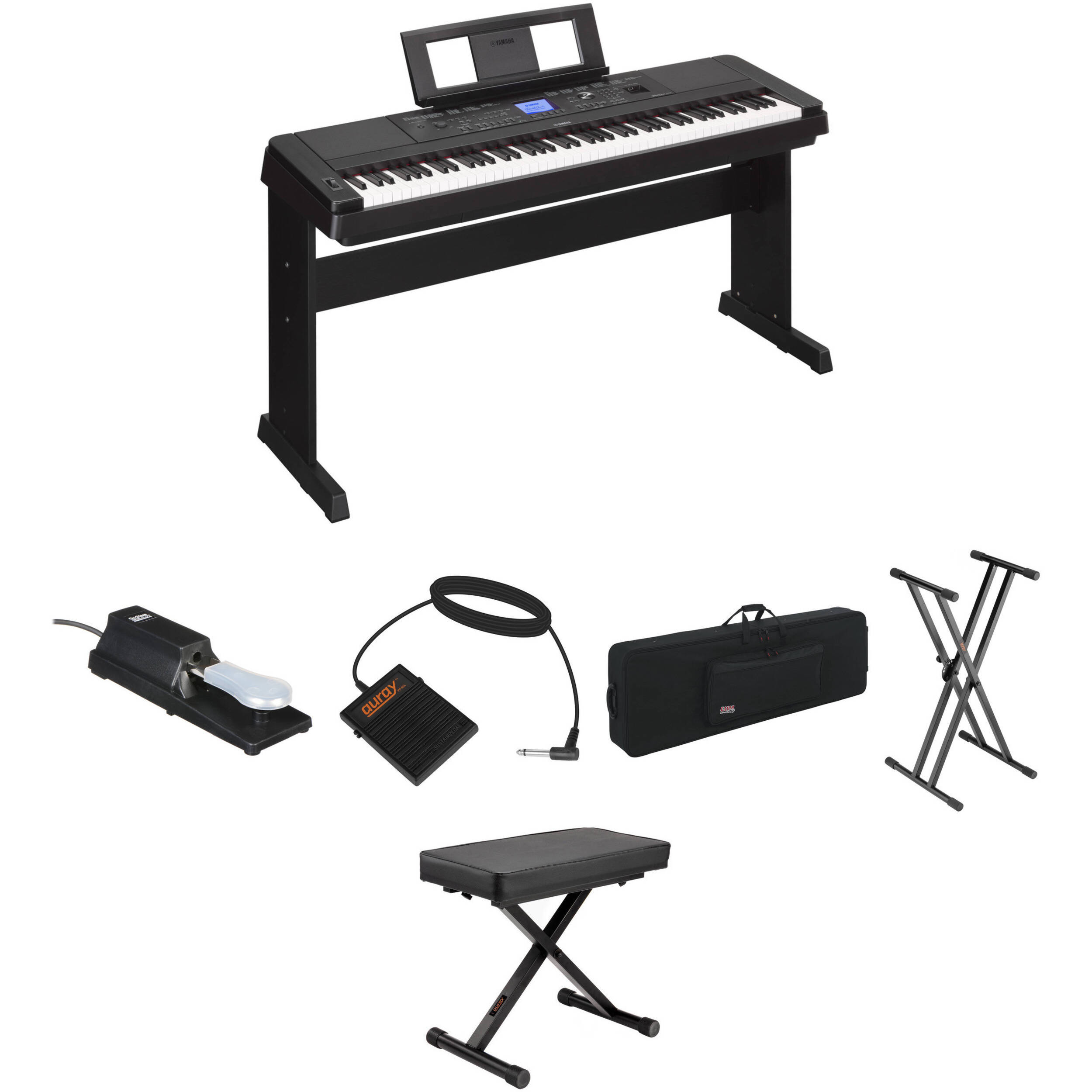 yamaha dgx 660 stage bundle kit with pedals bench case and. Black Bedroom Furniture Sets. Home Design Ideas