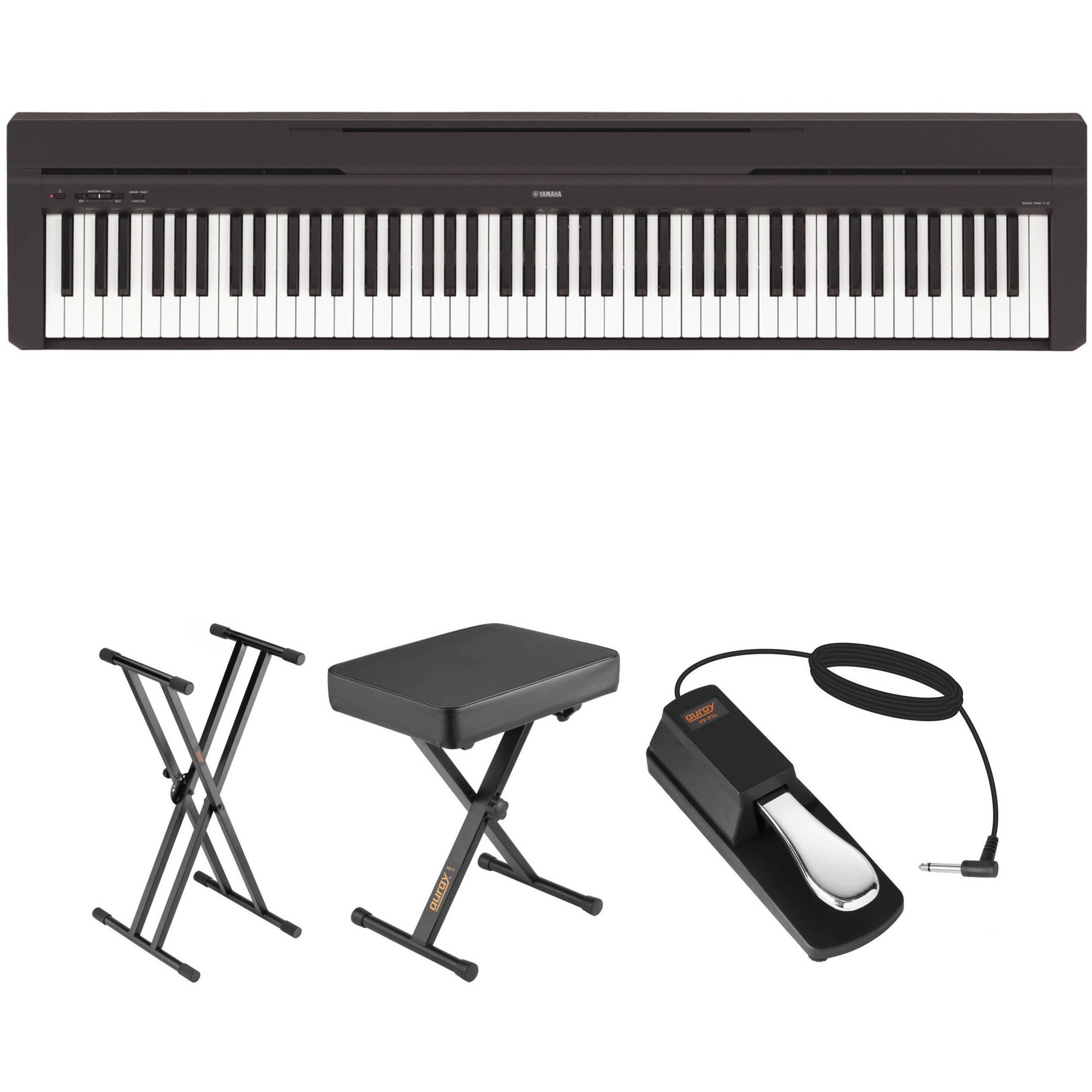 yamaha p 45 compact portable digital piano bundle black b h. Black Bedroom Furniture Sets. Home Design Ideas