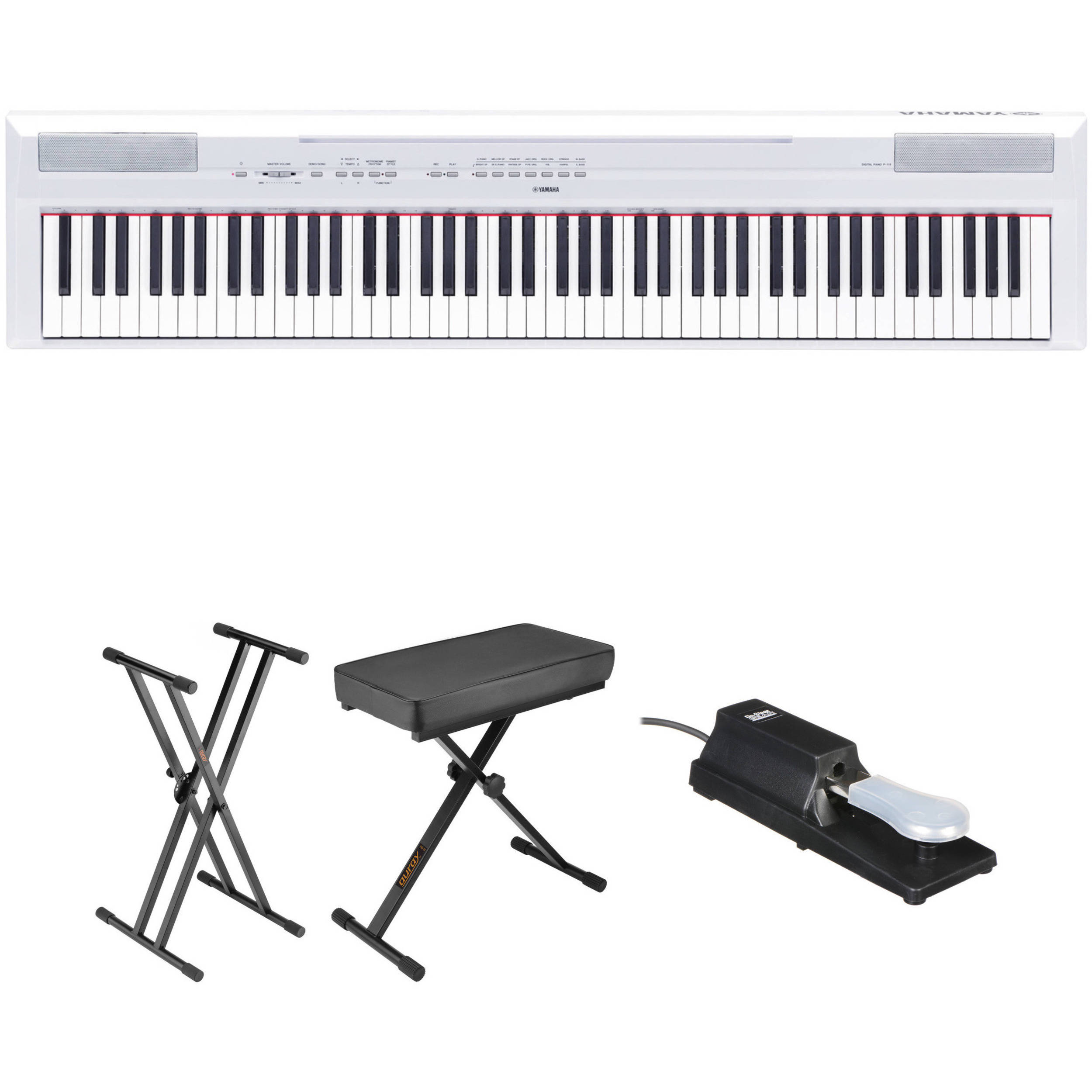 yamaha p 115 digital piano essentials bundle white b h photo. Black Bedroom Furniture Sets. Home Design Ideas