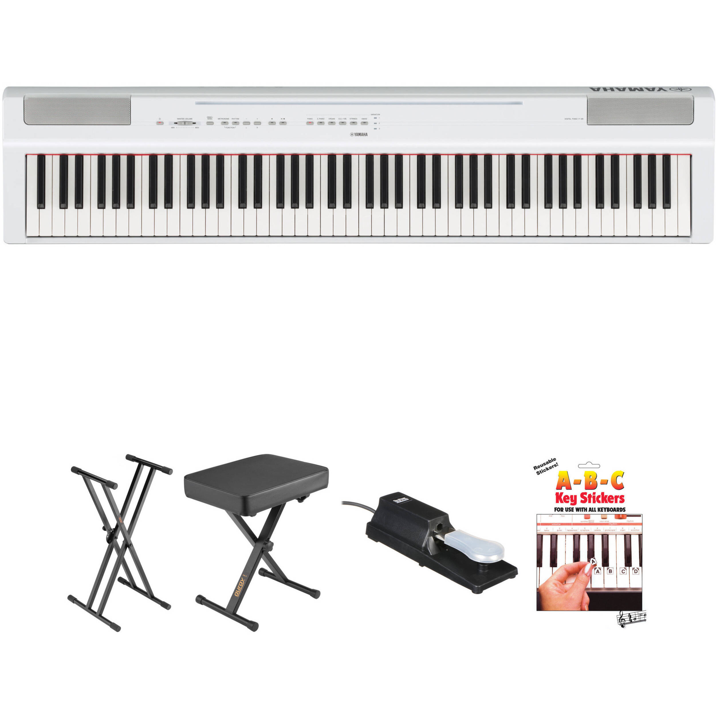 yamaha p 125 88 note digital piano and essentials kit white. Black Bedroom Furniture Sets. Home Design Ideas