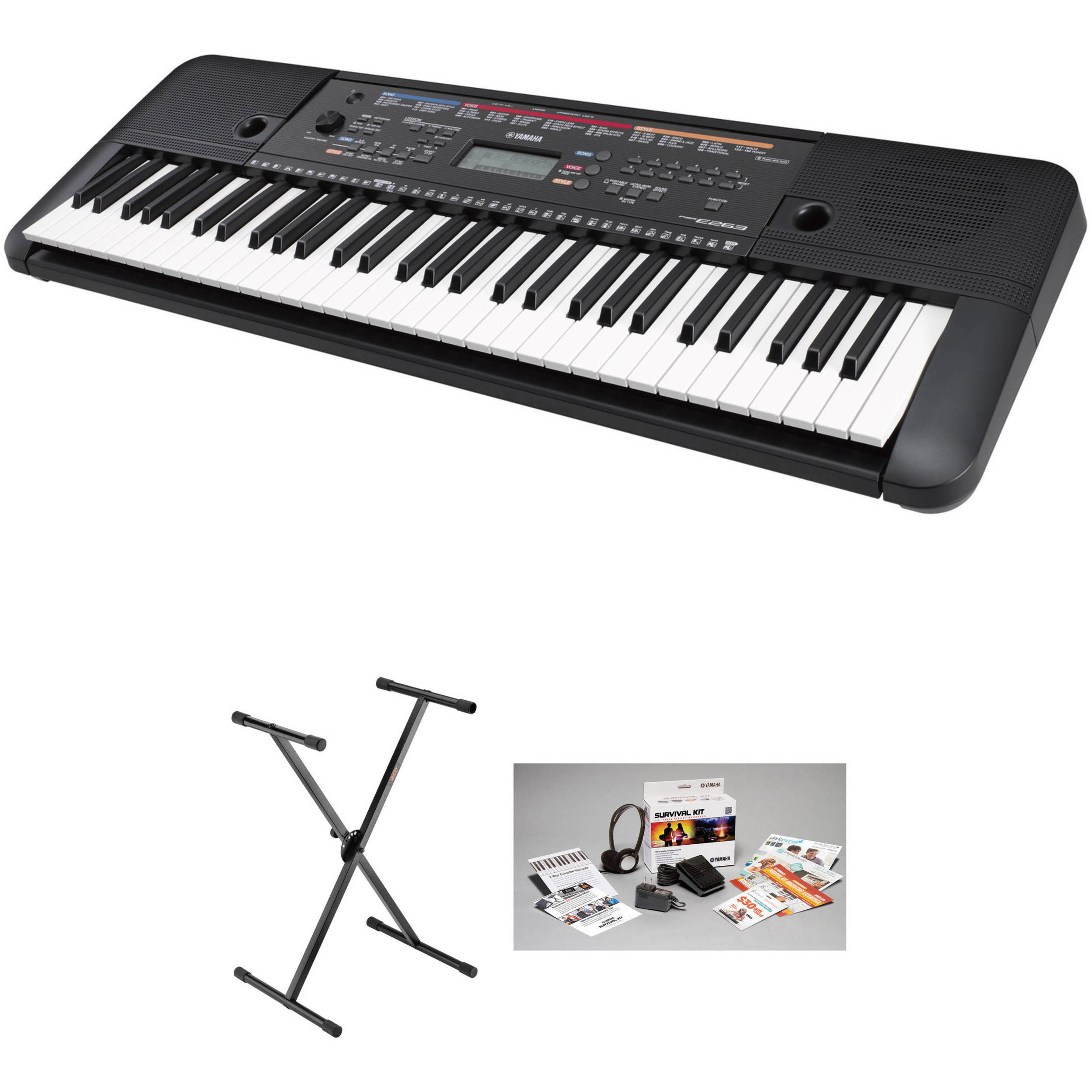 yamaha psr e263 61 key portable keyboard kit with stand. Black Bedroom Furniture Sets. Home Design Ideas