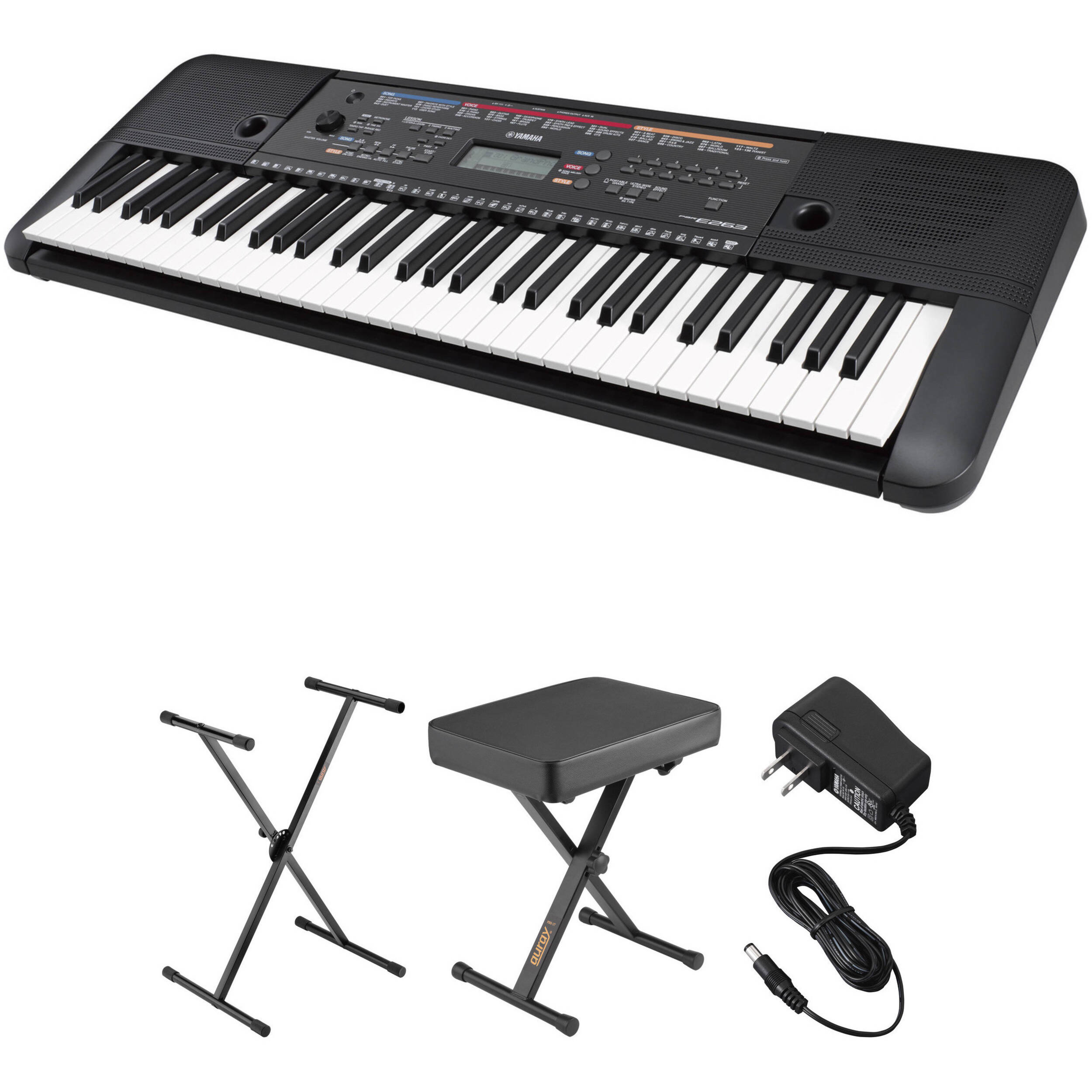 Yamaha Psr E263 Keyboard Kit With Stand Bench And Power Adapter