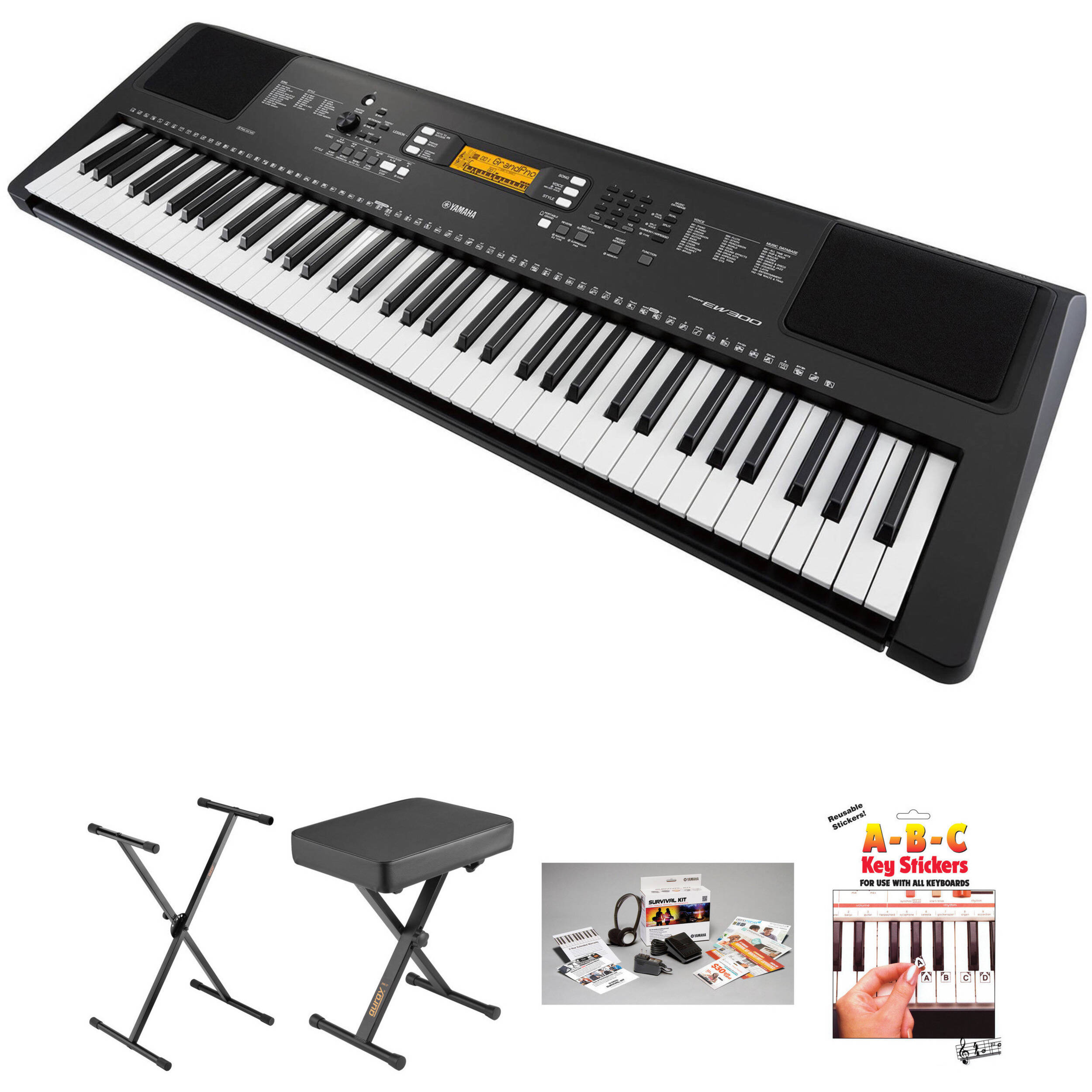yamaha psr ew300 76 key portable keyboard essential bundle b h