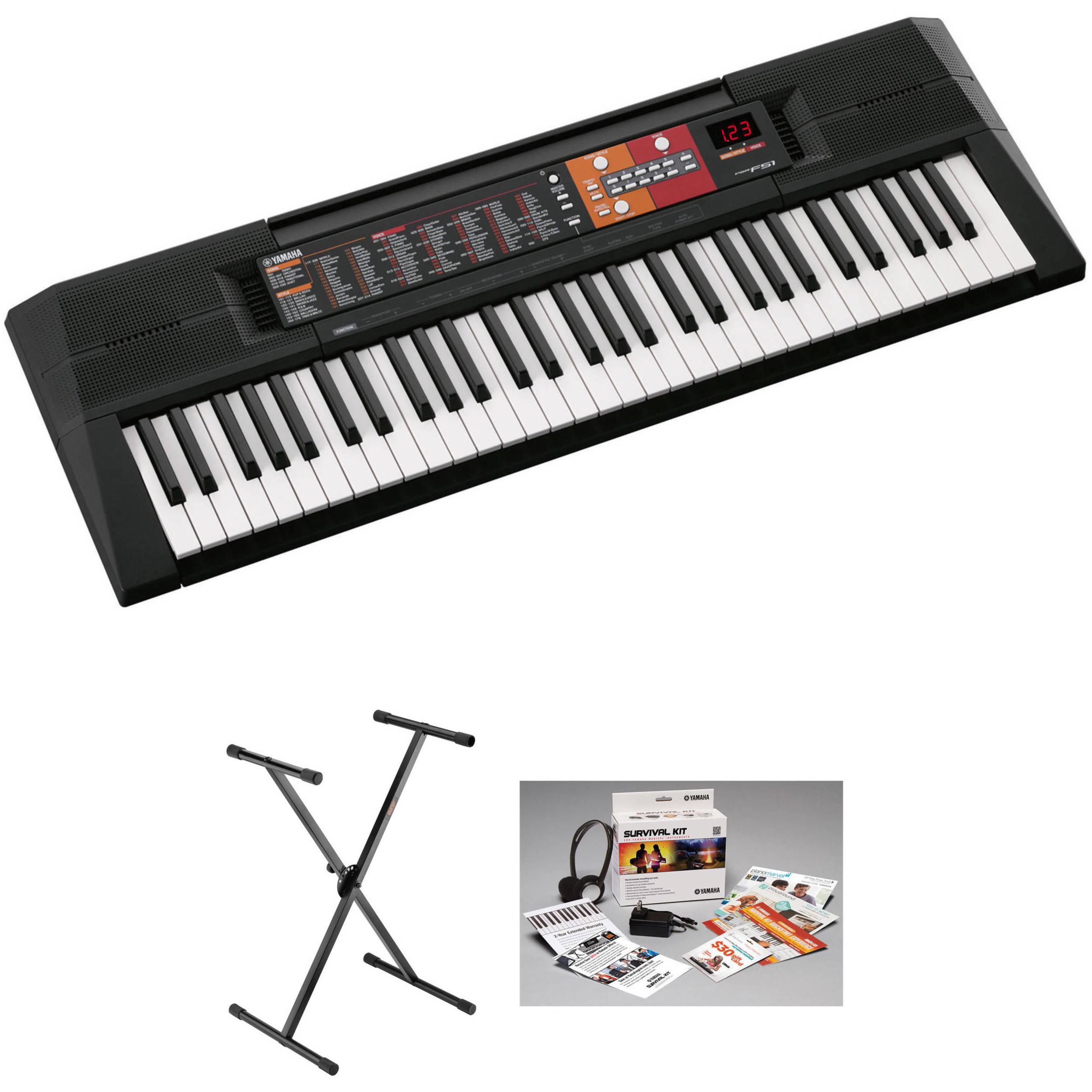 Yamaha psr f51 61 key entry level keyboard kit with stand for Yamaha psr stand