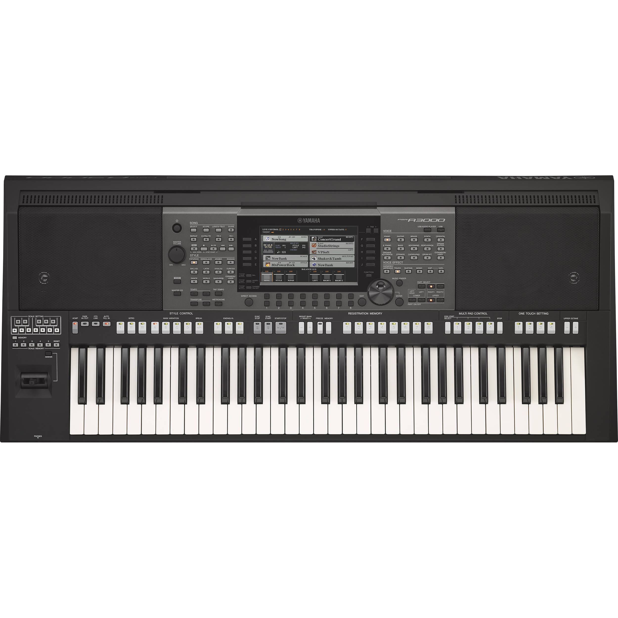 yamaha psr a3000 world content arranger keyboard psra3000 b h. Black Bedroom Furniture Sets. Home Design Ideas