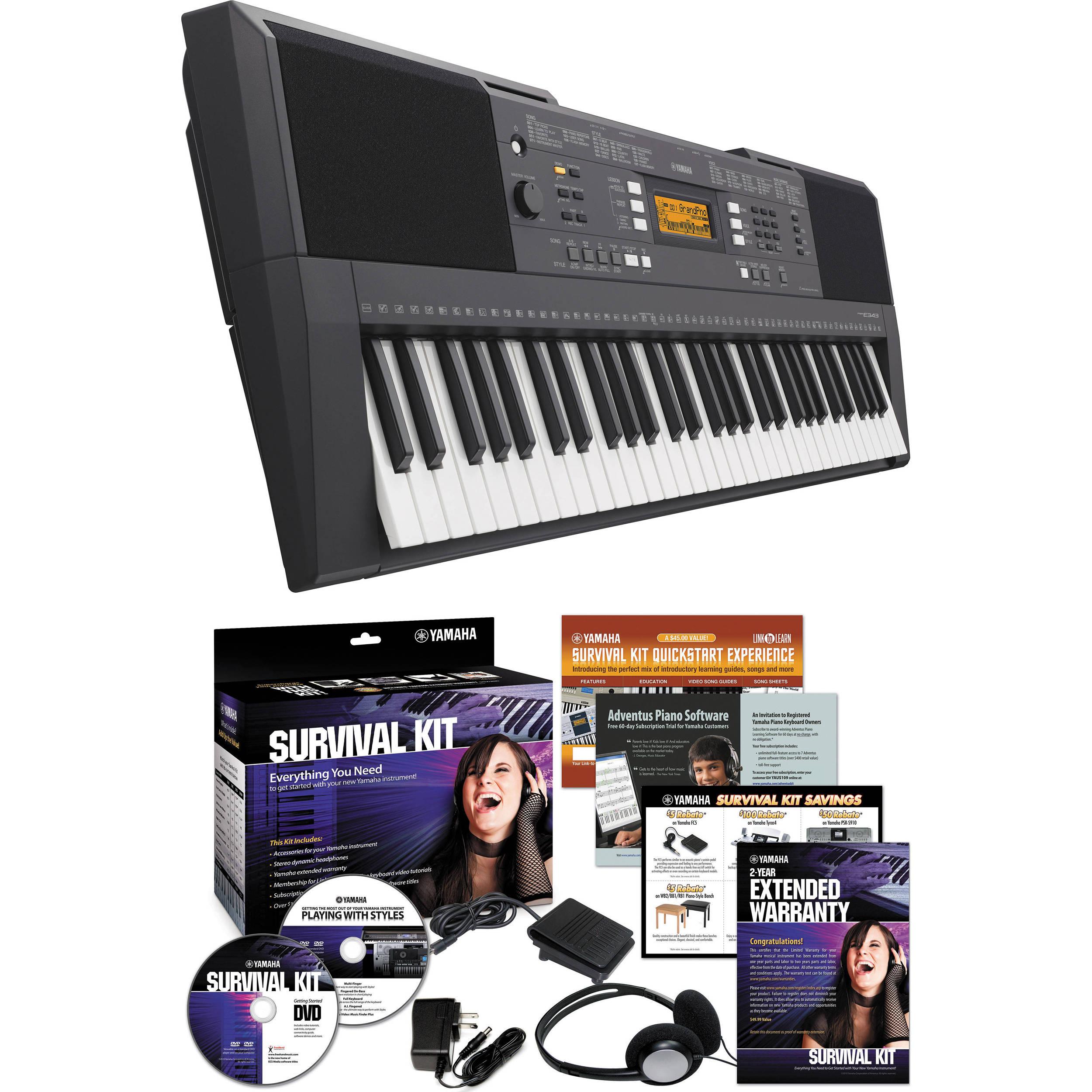 yamaha psr e343 portable keyboard with survival kit psre343 kit. Black Bedroom Furniture Sets. Home Design Ideas
