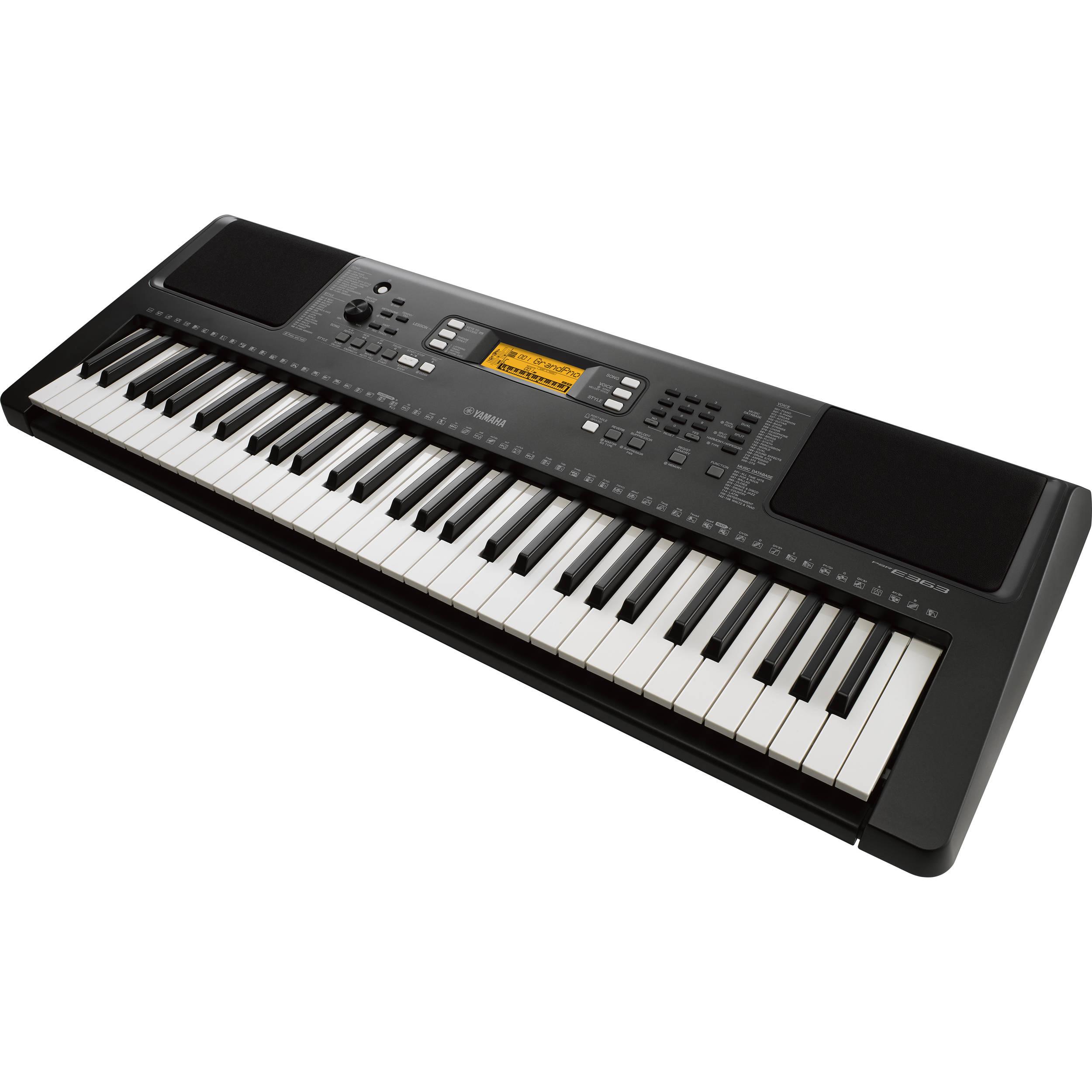 yamaha psr e363 touch sensitive portable keyboard psre363 b h. Black Bedroom Furniture Sets. Home Design Ideas