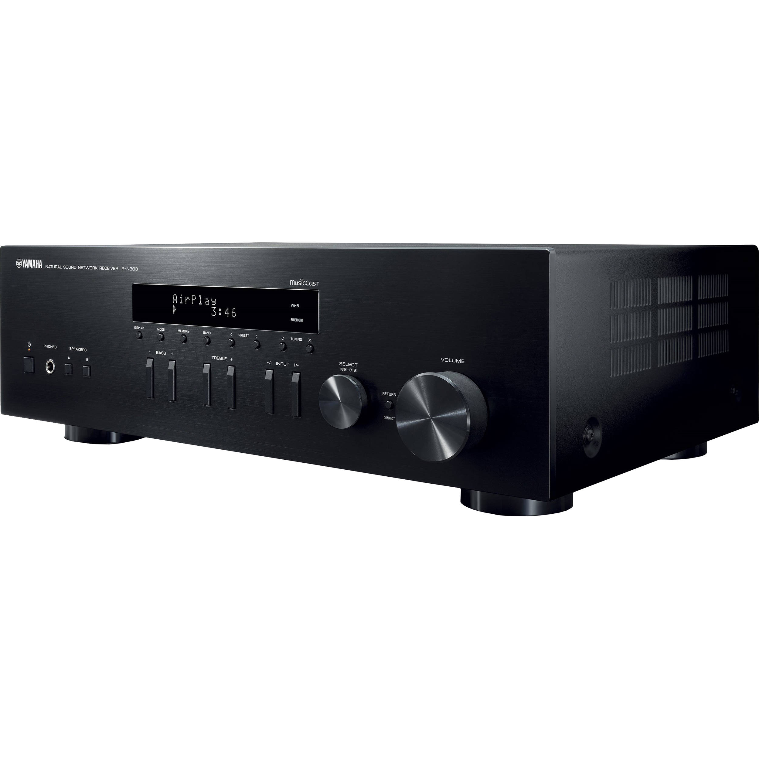 Yamaha r n303 stereo network receiver r n303bl b h photo video for Yamaha stereo reciever