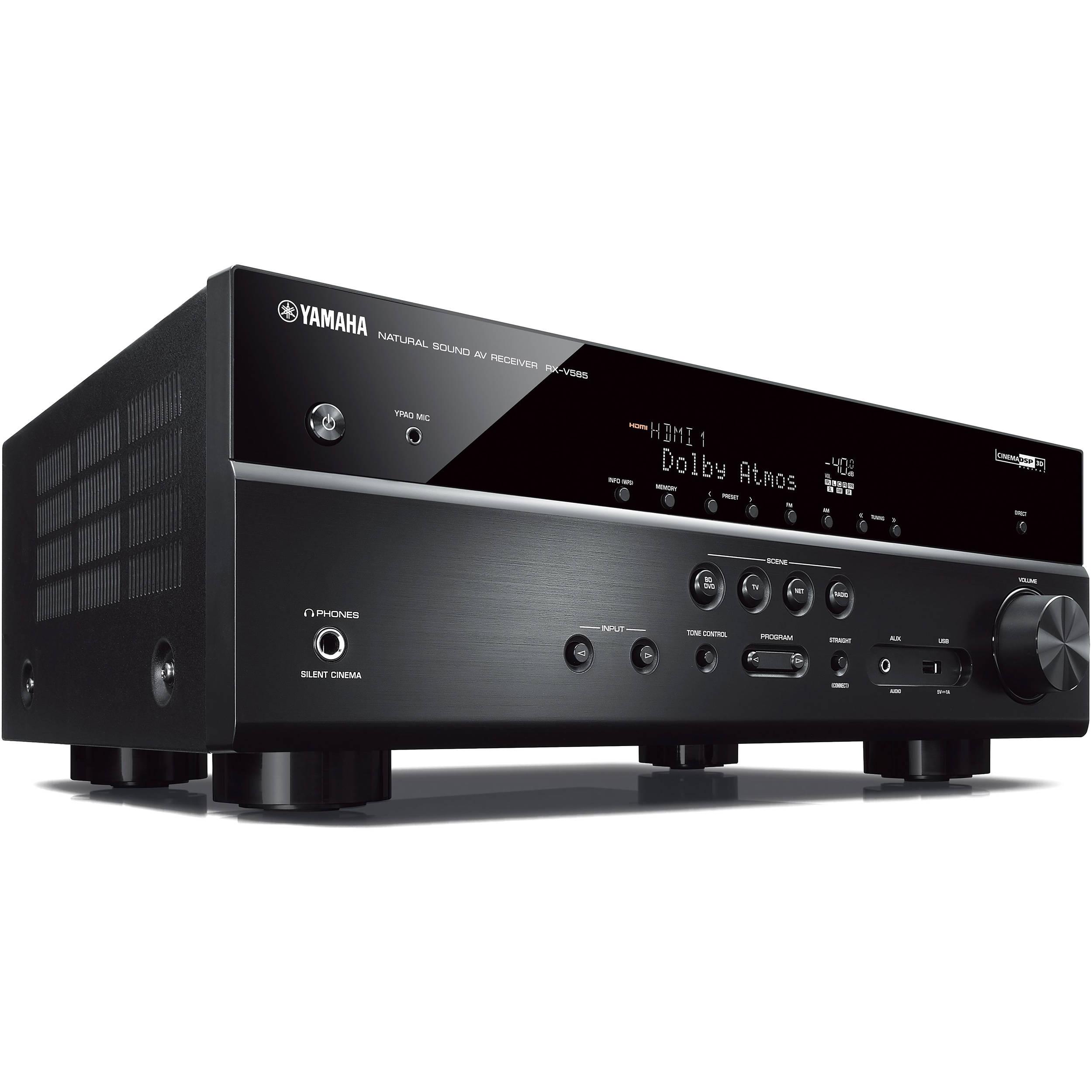 yamaha rx v585 7 2 channel musiccast a v receiver rx v585bl b h. Black Bedroom Furniture Sets. Home Design Ideas