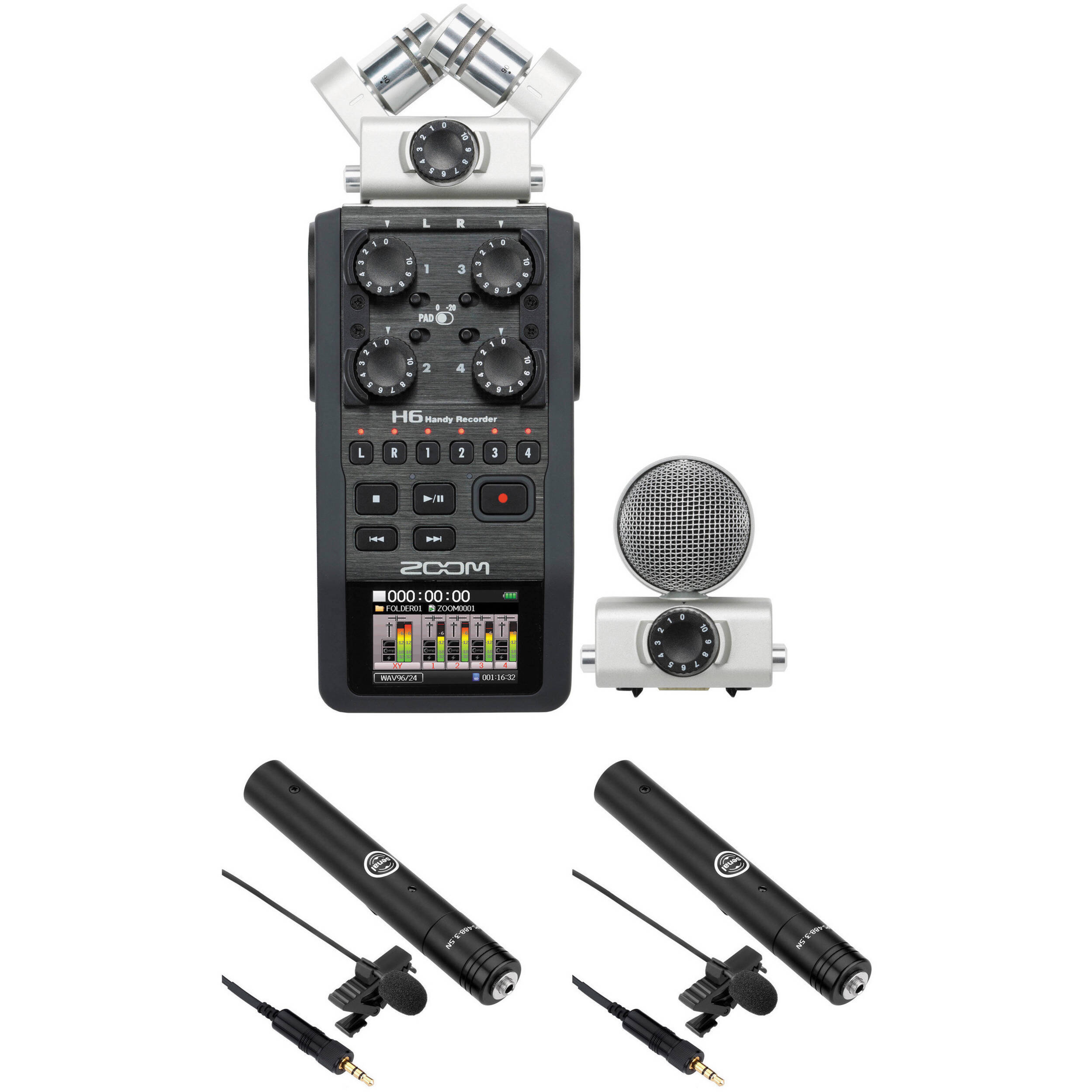 Zoom H6 2-Person Interview Kit with Lav Mics