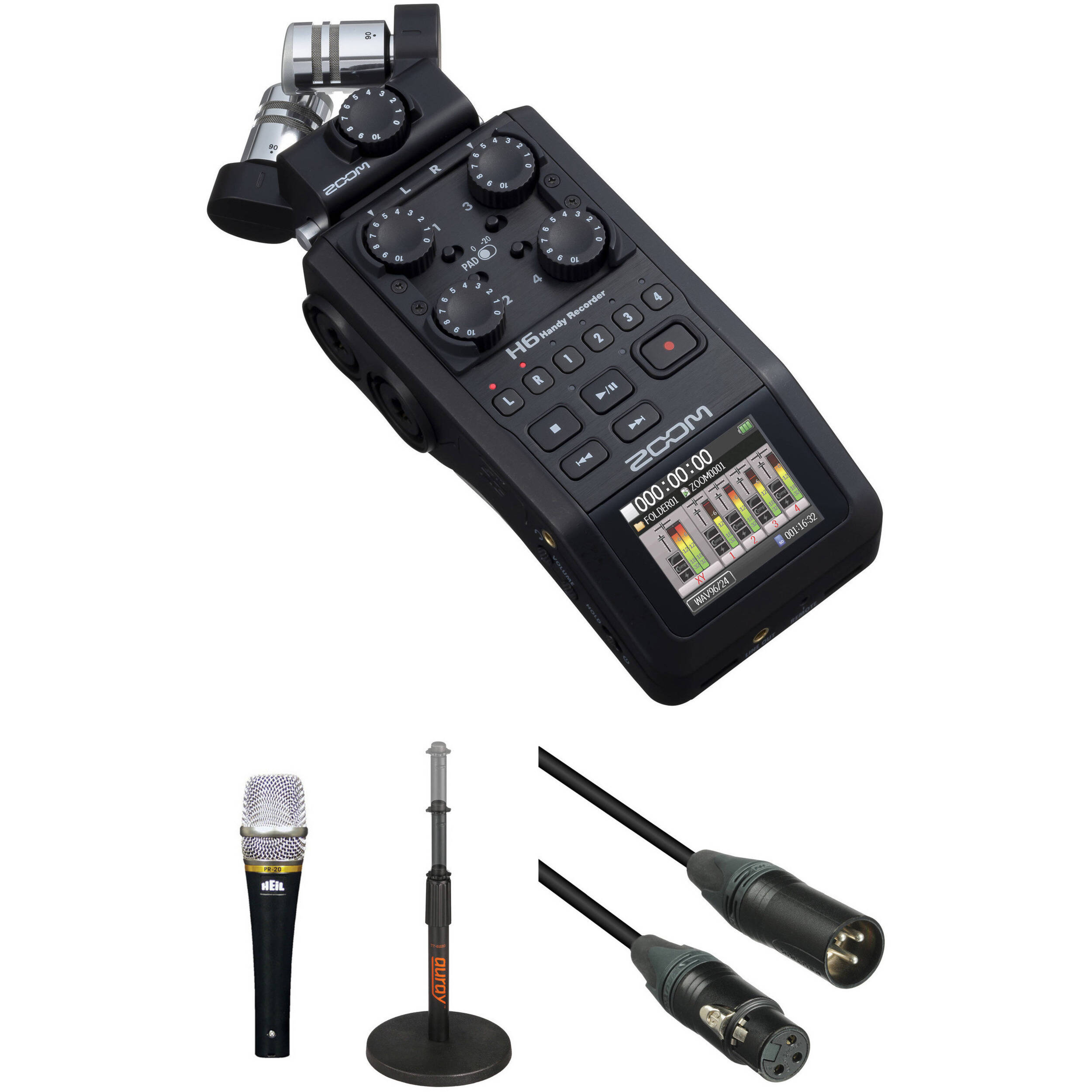 zoom h6 recorder podcast kit with encore 100 microphone b h. Black Bedroom Furniture Sets. Home Design Ideas