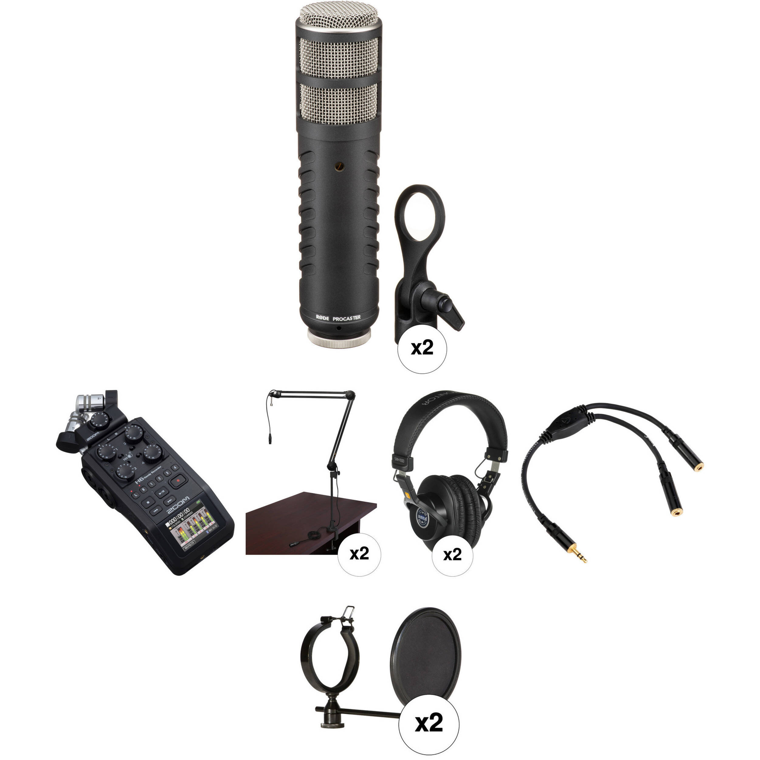 zoom h6 recorder podcast kit with two rode procaster microphones. Black Bedroom Furniture Sets. Home Design Ideas