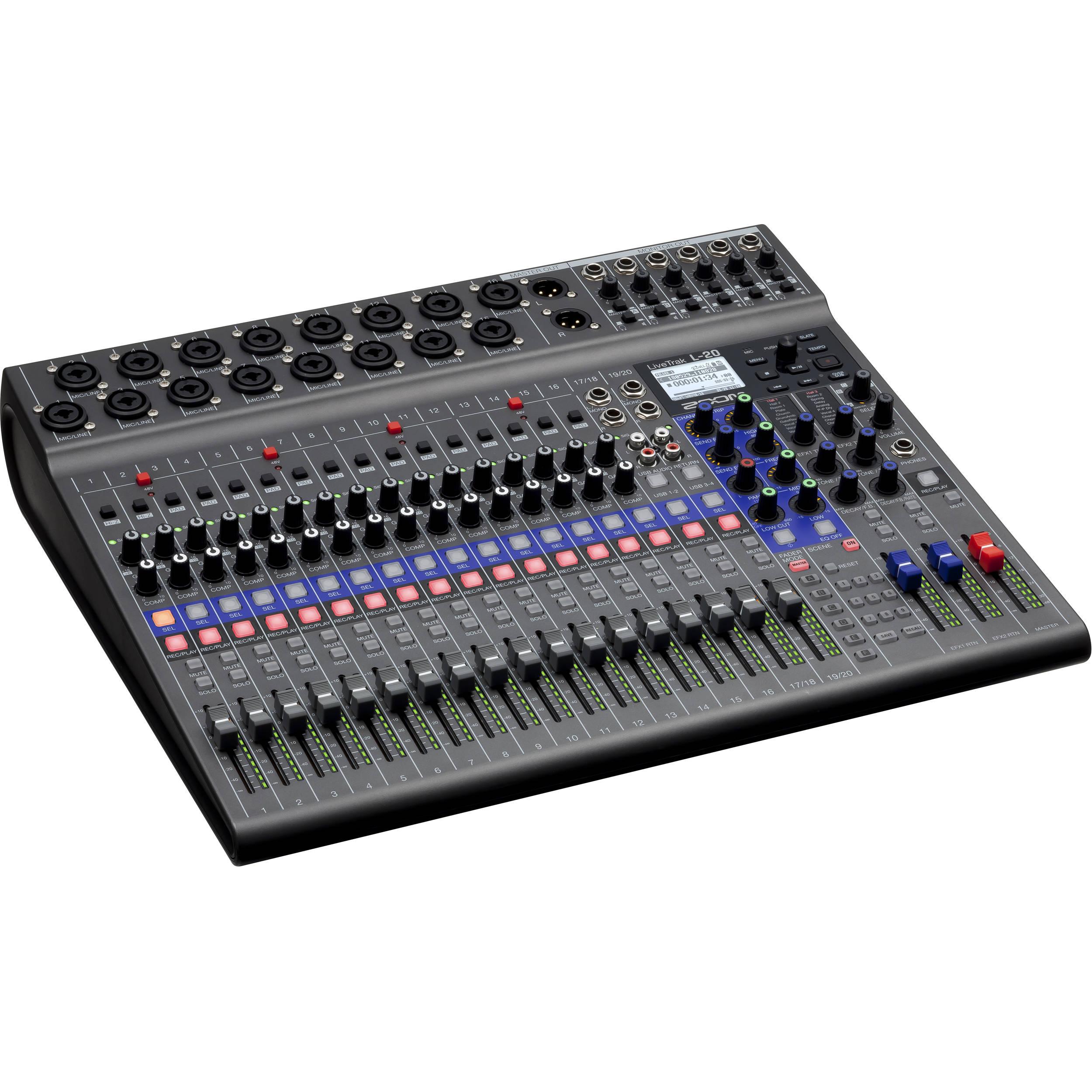 zoom livetrak l 20 20 input digital mixer multitrack. Black Bedroom Furniture Sets. Home Design Ideas