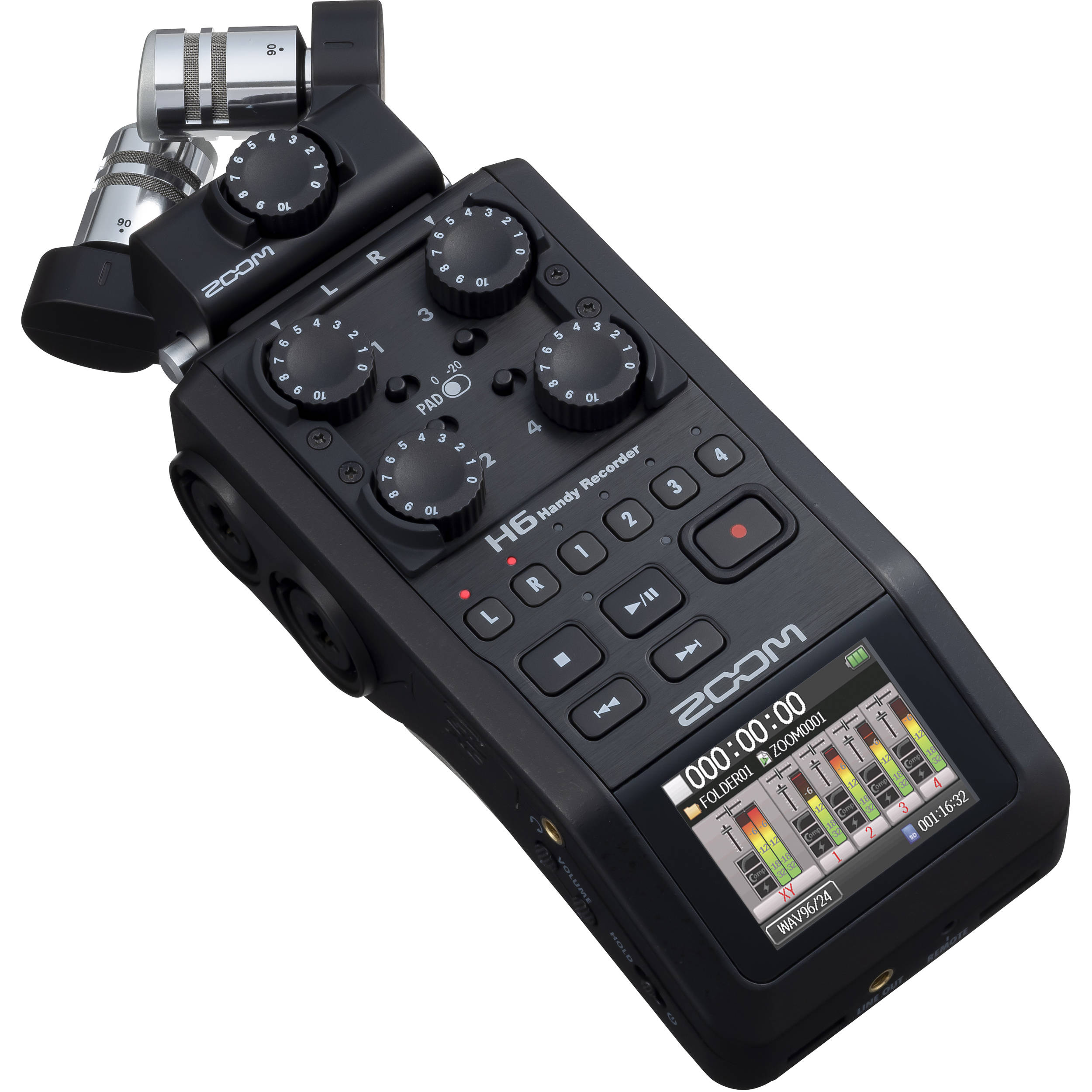 Zoom H6 All Black 6-Input / 6-Track Portable Handy Recorder