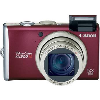 Canon | PowerShot SX200 IS Digital Camera (Red) | 3511B001 | B&H
