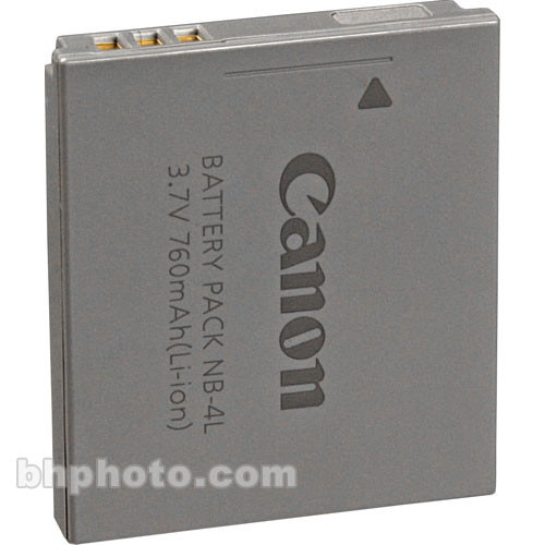 Canon Nb 4l Lithium Ion Battery Pack 3 7v 760mah 9763a001 B Amp H