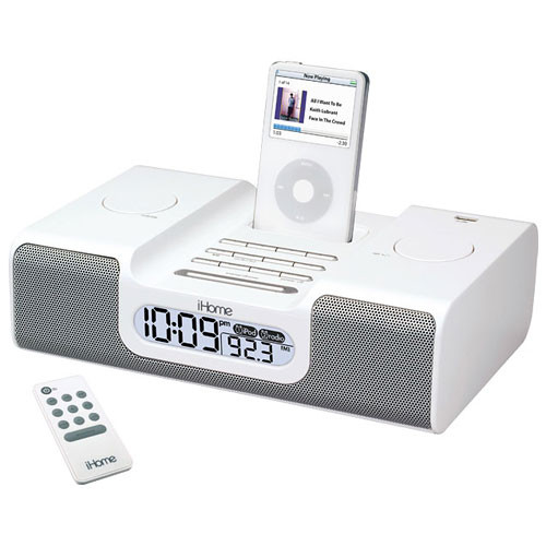 ihome ih6wrs dual alarm clock radio for ipod shuffle ih6wrs b h. Black Bedroom Furniture Sets. Home Design Ideas