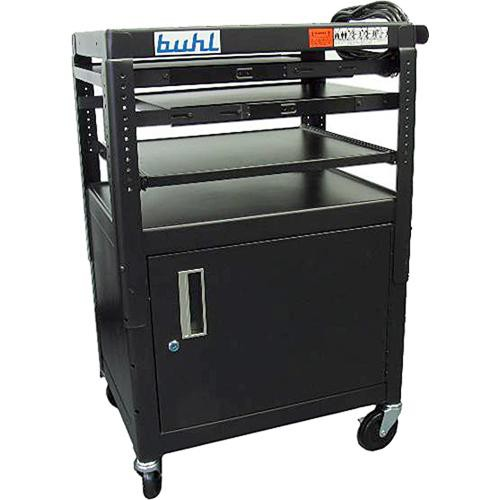 HamiltonBuhl FIVE4226E Height Adjustable AV Media Cart W/ Security Cabinet  U0026 Laptop Shelf