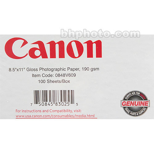 Canon Canon Glossy Photographic Paper 0848v609 Bh Photo Video