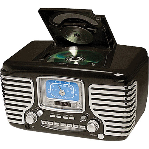 crosley radio cr612 corsair clock radio black cr612 bk b h. Black Bedroom Furniture Sets. Home Design Ideas