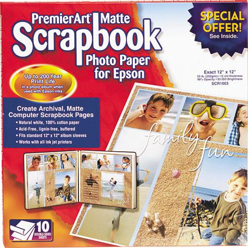 epson premierart matte scrapbook photo paper scr1003 b h photo