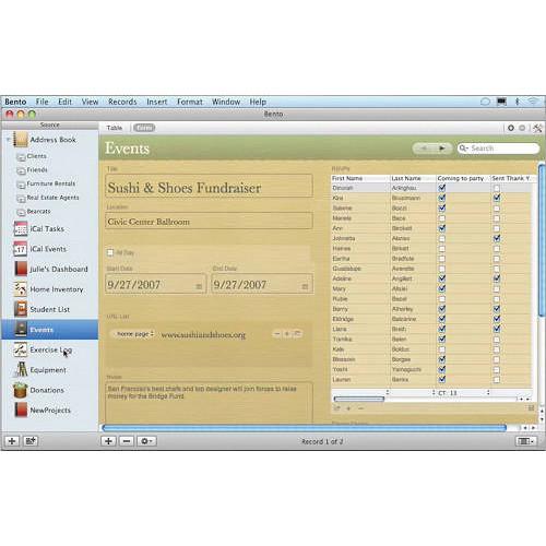 FileMaker Bento 3 Database Software (Flat Pack) TT610LL/A B&H