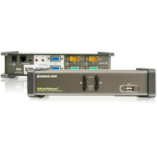 IOGEAR Dual View GCS1742 2 Port USB KVM Switch With Monitor Support