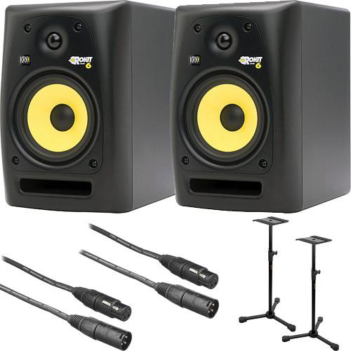 krk rokit 6 g2 studio monitors bundle b h photo video. Black Bedroom Furniture Sets. Home Design Ideas