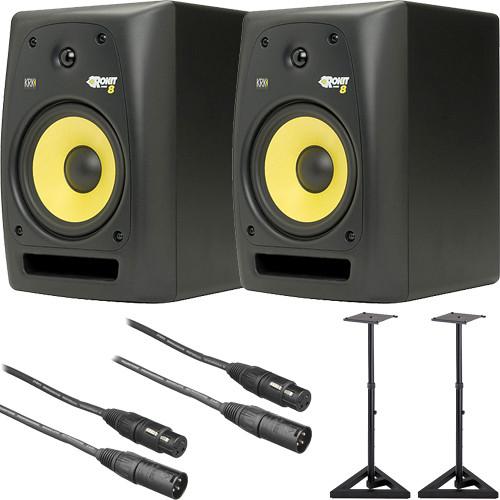 krk rokit 8 g2 studio monitors bundle b h photo video. Black Bedroom Furniture Sets. Home Design Ideas