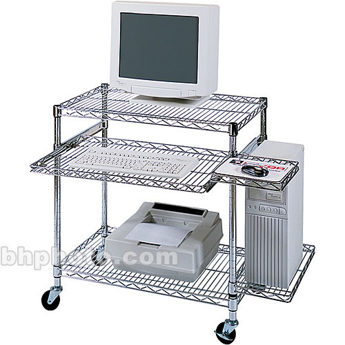 Luxor Wire Computer Station With Pull Out Shelf Model Licw3018 Chrome