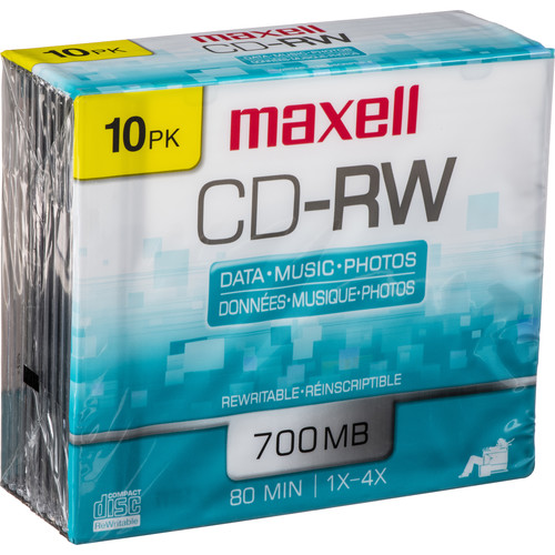 maxell cd rw 1 4x rewritable disc 10 630011 b h photo video. Black Bedroom Furniture Sets. Home Design Ideas