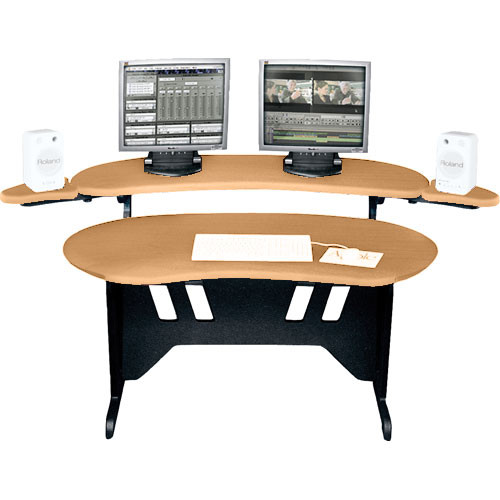 Middle Atlantic El Hm 84 Edit Center Desk With Overbridge Honey Maple