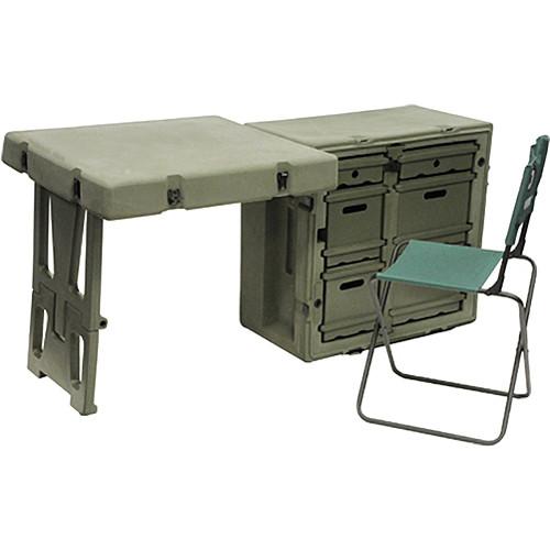 Portable collapsible chair - Pelican Hardigg Fd3121 Single Field Desk 472flddeskta137 B Amp H