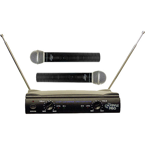 pyle pro pdwm2500 dual vhf wireless microphone system pdwm2500. Black Bedroom Furniture Sets. Home Design Ideas
