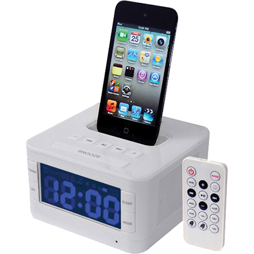 pyle pro radio alarm clock speaker system for ipod picl52w b h. Black Bedroom Furniture Sets. Home Design Ideas