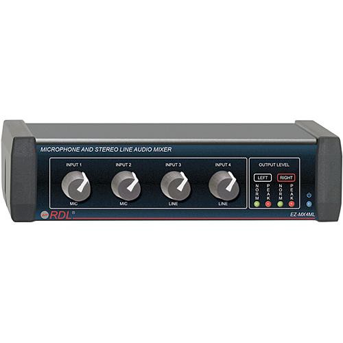 rdl ez mx4ml microphone and stereo line audio mixer ez mx4ml. Black Bedroom Furniture Sets. Home Design Ideas