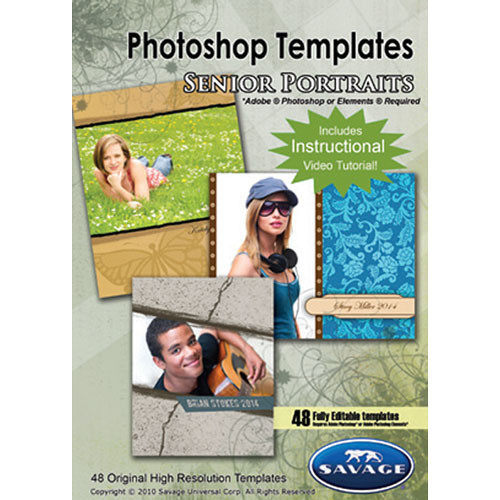 Savage senior portrait photoshop templates pst104 b h photo for Free senior templates for photoshop