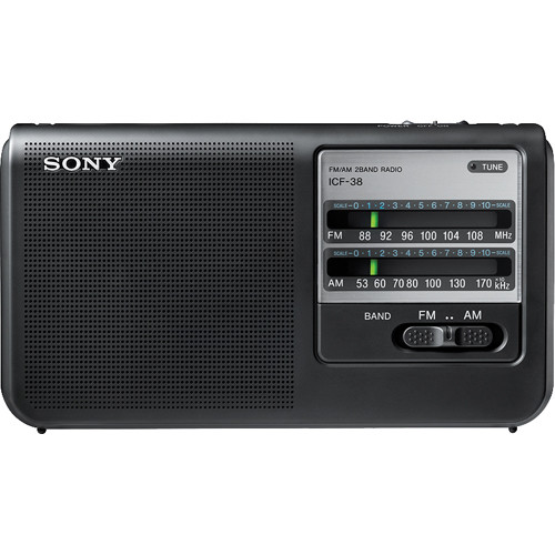 sony icf 38 portable am fm radio icf38 b h photo video. Black Bedroom Furniture Sets. Home Design Ideas