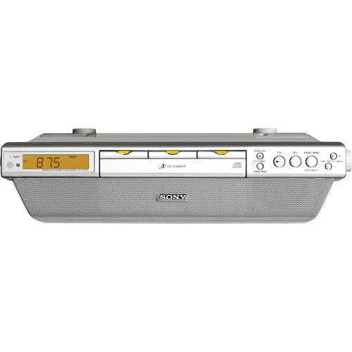 Sony ICF-CDK70 Under Cabinet Kitchen CD Clock Radio ICFCDK70 B&H on antique pooley radio cabinet, kitchen cabinet radio cd player, radio cd under cabinet, microwave under cabinet,